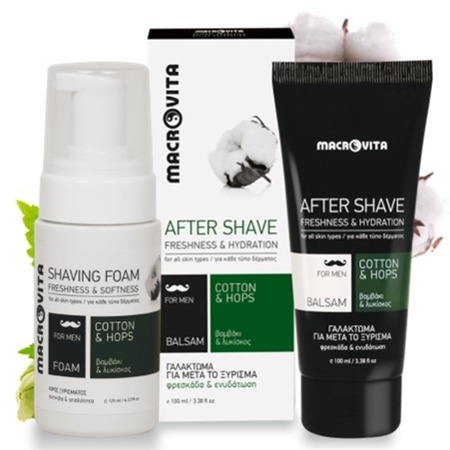 MACROVITA GIFT SET FOR MEN: natural shaving foam 125ml + natural after shave balm 100ml